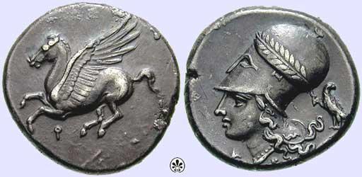 Athéné és Pégaszosz egy antik korinthoszi pénzérmén