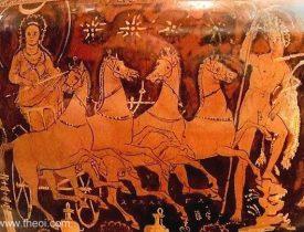 Szeléné, a Holdistennő és a pegazusai egy ókori vázán